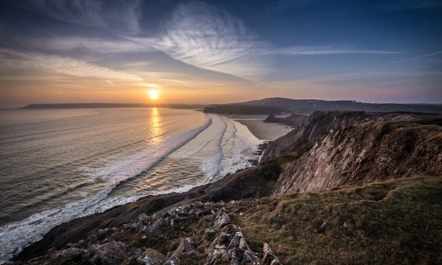 Sunset At Three Cliffs View From Southgate