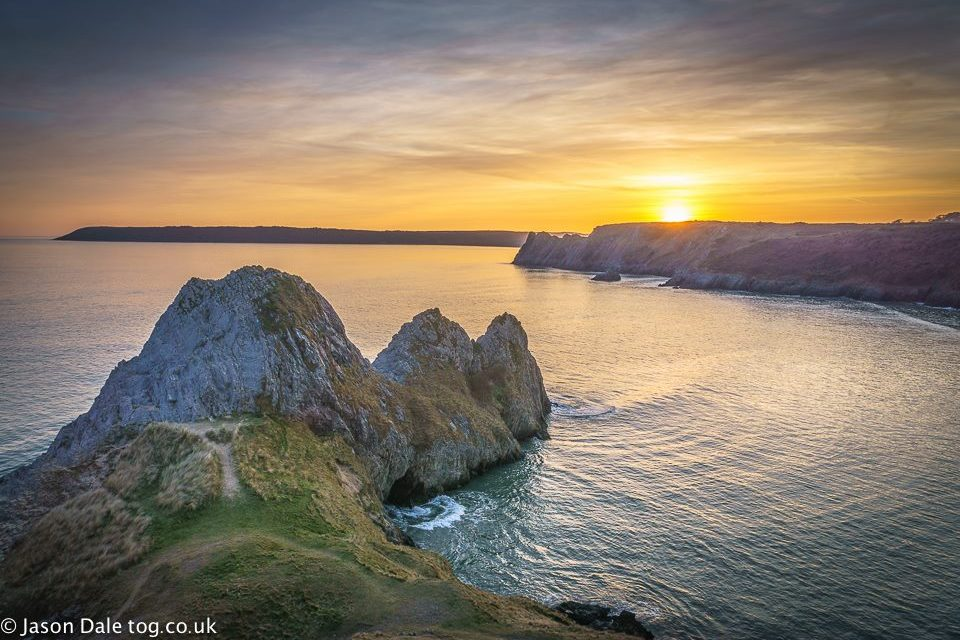 Sunset At Three Cliffs Bay
